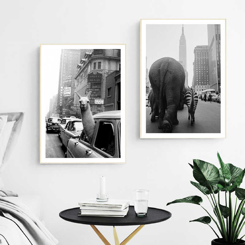 Animal Llama Vintage Wall Art Canvas Poster Painting Zoo Animals Elephant Zebra in New York City Photo Pictures Print Home Decor