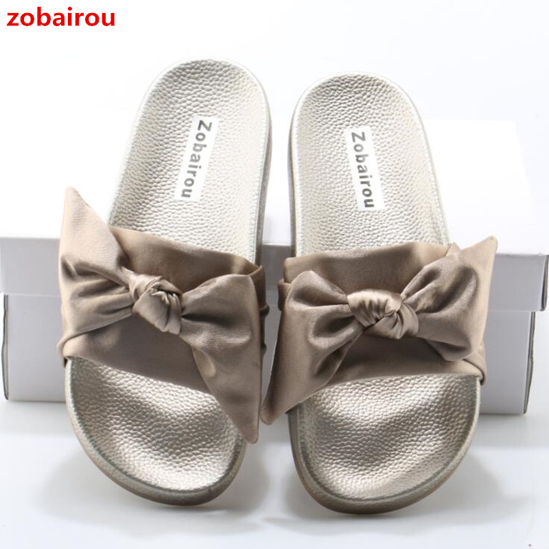 7a8bc6e6531 ... Ladies Bow Summer Lotus Jolly Heel Flops Rihanna Beach Silk Shoes Flip  Women Slippers Bohemia Woman
