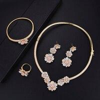 GODKI Luxury Nigerian Jewelry sets For Women Cubic Zirconia Dubai Gold Wedding Blossom Flowers Indian Long bridal jewelry sets