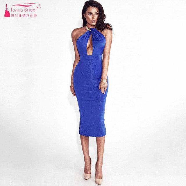 23100d75d4b5 royal Blue Red White olive Black Bandage Bridesmaid Dresses Deep V-Neck  Halter Backless Vestidoe De Festa ZB069