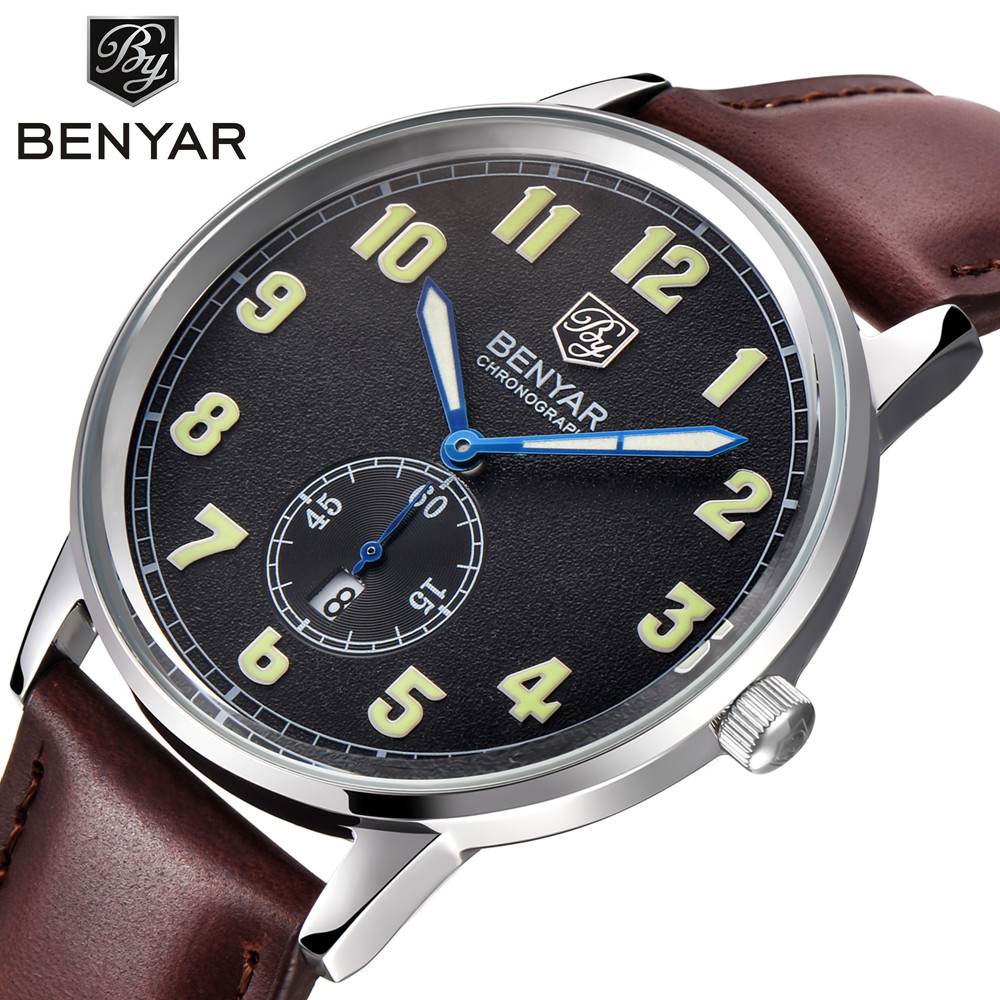 Casual Men Business Watches Waterproof Genuine Leather Strap Fashion Brand Quartz Wristwatch for Men Calendar Clock