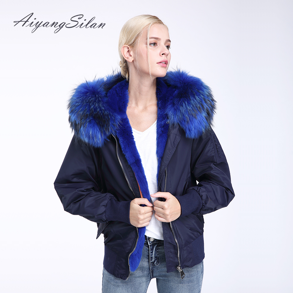AiyangSilan Real Rex Rabbit Fur Liner Parka Natural Raccoon Fur Big Collar Jacket Women Fur Coats with hooded thick Jackets faux rabbit fur brown mr short jacket sleeveless with big raccoon collar fall coat
