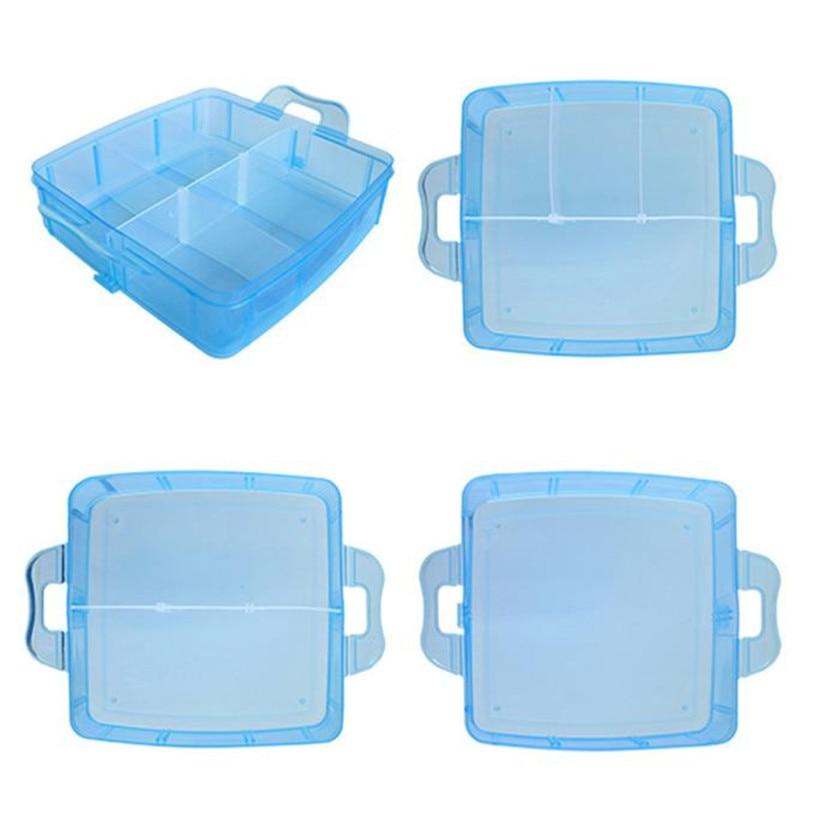 Three Layer Portable Craft Beads Storage Box Case Clear Plastic