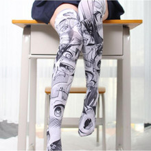 Anime lovely Thigh High Sock Caricature Cartoon Figure Printing Stocking Cosplay Costumes Accessories Fancy Socks Velvet