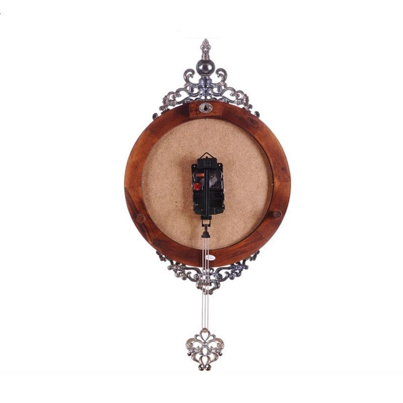 OUYUN Eropa Antik Kayu Jam Dinding Pendulum Decor Diam Gerakan Kuarsa - Dekorasi rumah - Foto 4