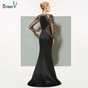 Image 3 - Dressv black long evening dress elegant scoop neck sweep train long sleeveless wedding party formal dress sheath evening dresses