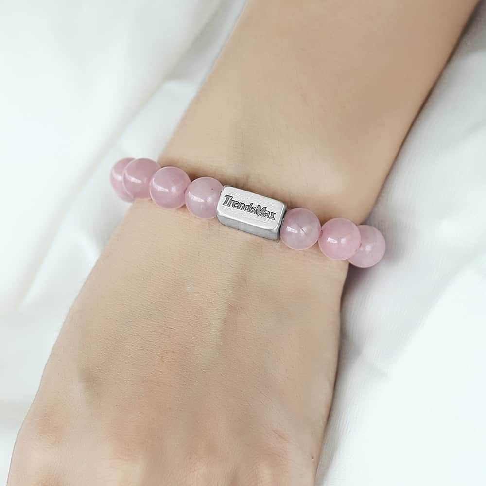 Natural Rose Quartz Crystal Bracelet Mens Womens Stretch Stainless Steel Bracelet Pink Gemstone Beads Jewelry Yoga TBB00120