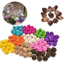 1/10 piezas 3 cm/5 cm caña de mimbre de la vendimia bola de Navidad Jardines del hogar adorno de Patio materiales de decoración DIY
