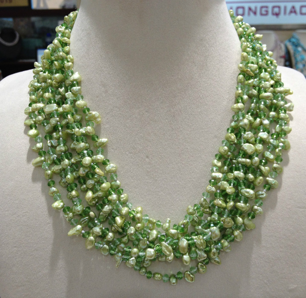Green Natural Freshwater Pearl And Crystal Necklace Pearl Chocker Necklace Twist Multilayer Long Pearl Necklace cat eye multilayer necklace