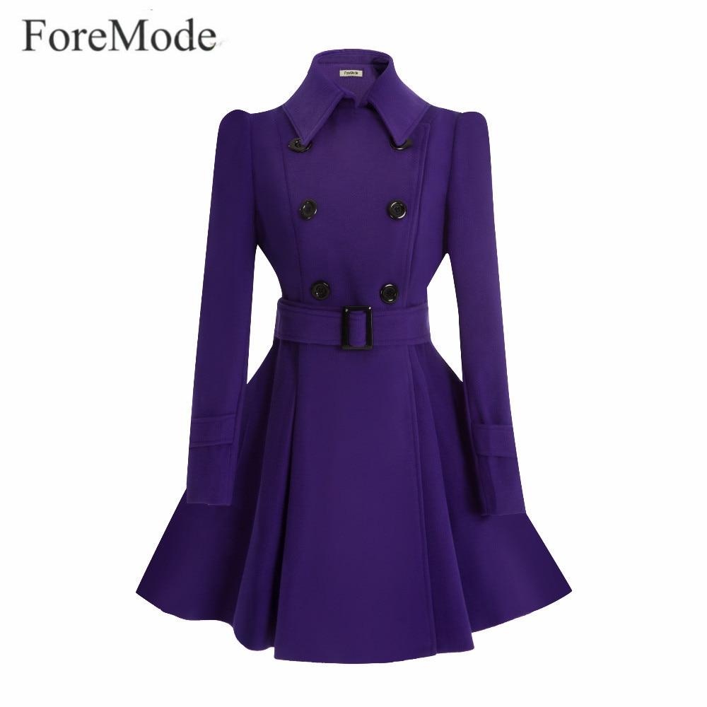 ForeMode зима пряжки ремня на длинный плащ двубортный женское платье длинные SleeveTrench Шерстяное пальто