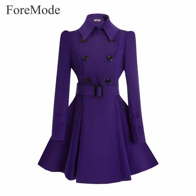 ForeMode Fivela de Cinto de Inverno Mid-Long Trench Trespassado Mulheres Casaco de Lã Vestido Longo SleeveTrench