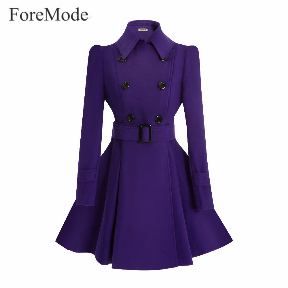 ForeMode Winter Belt Buckle Mid-Long Trench Double-breasted Women Dress Long SleeveTrench Wool Coat double breasted wool blend longline trench coat