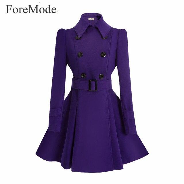 ForeMode אבזם חגורה חורף אמצע ארוך טרנץ רכיסה כפולה מעיל צמר נשים שמלה ארוכה SleeveTrench
