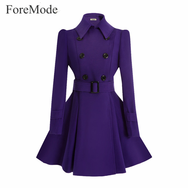 Foremode зима пряжки ремня на длинный плащ двубортный женское платье с длинным рукавом Тренчи для женщин Шерстяное пальто