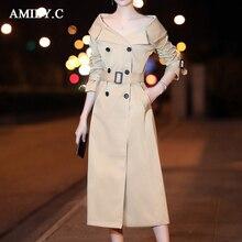 2018 nouvelle longue tranchée manteau femmes de robe automne à double  boutonnage élégant kaki coupe-vent Abrigo Mujer coupe-vent f177c15588e