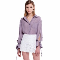 Light purple turn down collar drawstring slit sleeve shirts for women ladies loose oversized OL work button down tops blouses