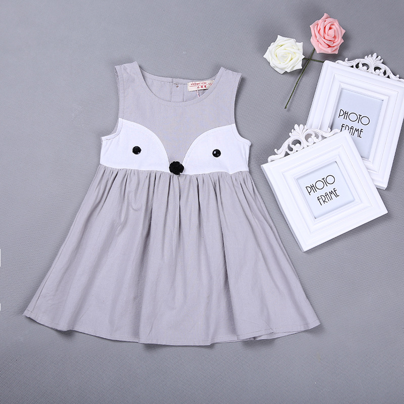 ddd028d1a87cd Sweet Baby Girls Clothes Summer Girls Animal Printed Cotton Dress Girls Fox  Orange Gray Dress Clothing 80909-in Dresses from Mother & Kids on  Aliexpress.com ...