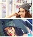 5 peças Das Mulheres Adorável strass orelha de gato Malha chapéus de lã com a orelha da moda bonito beanie chapéus caps para a menina