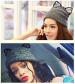 5 pieces Womens Lovely rhinestone cat ear Knitted woollen hats with ear cute fashionable beanie hats caps for girl
