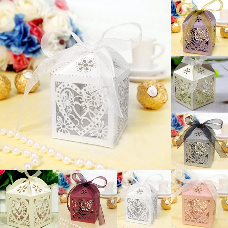 10pcs/lot Love Heart Candy Box Bridal Wedding casamento Candy Packaging Box Creative Sweets Candy Boxes Gifts With Ribbon