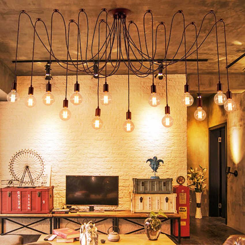 Современное Скандинавское Ретро лампа Эдисона люстра винтажная Лофт антикварная Регулируемая DIY Искусство паук потолочная лампа с креплением