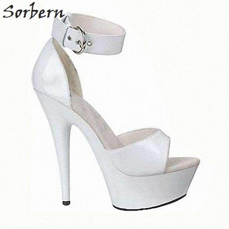 Sorbern bride à la cheville sandales pour femmes talons hauts 15 Cm/5 Cm plate forme talons à la mode talons hauts extrêmes semelle épaisse sandales bricolage couleur
