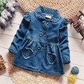 Meninas Denim Jaquetas de BibiCola Adorável Coração Proteger Dot Bebê Outerwear Casacos Para As Meninas de Manga Comprida calças de Brim Meninas Jaquetas Roupas