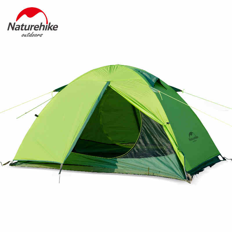 Outdoor 2 Person Waterproof Nylon Silicone Coating Double Layer Tent  Aluminum Rod Portable Camping Tents PU4000mm good quality flytop double layer 2 person 4 season aluminum rod outdoor camping tent topwind 2 plus with snow skirt