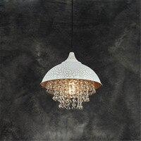American Retro Crystal LED Pendant Lamp Creative Iron Livingroom Hanging Light Simple Restaurant Bar Clothes Shop