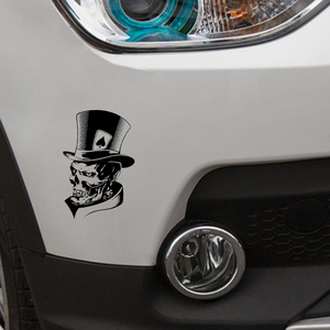 Image 5 - YJZT 11.3*17.6CM Lovely Joker Skeleton Skull Playing Cards Poker Monster Hat Car Sticker Vinyl C12 0010