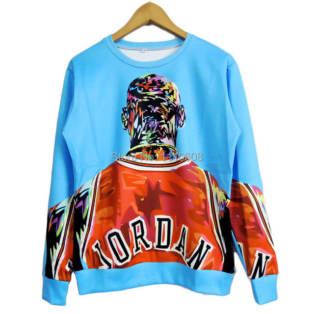 HOT! 2017 New High quality Women Men Jordan figure painting Print 3D Sweatshirts Hoodies Galaxy clothes Tops Free shiping