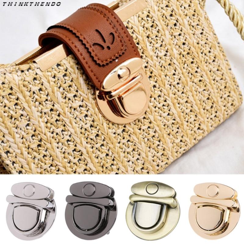 THINKTHENDO Fashion New Buckle Twist Lock Hardware For Bag Shoulder Handbag DIY Craft Turn Locks Clasp Accessories 4 Colors