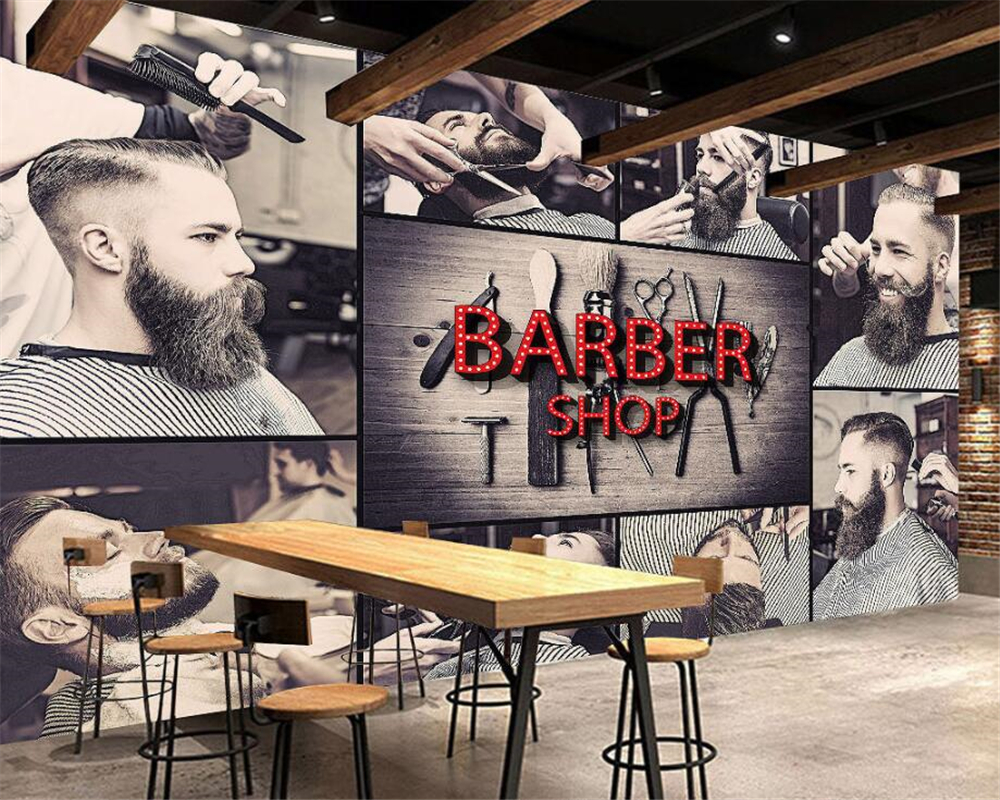 Beibehang Custom Wallpaper Living Room Bedroom Background 3d Wallpaper Stylish Barbershop Background walls mural 3d wallpaper custom baby wallpaper snow white and the seven dwarfs bedroom for the children s room mural backdrop stereoscopic 3d