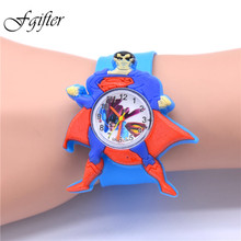 Cool Superman Kids Watch Show Children Cartoon Wristwatch Cool Plastic PVC Pops Table Watches quartz watches christmas gift
