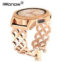 IWonow biżuteria Watchband dla Samsung Galaxy zegarek 42mm aktywny Active2 40mm 44mm kobiety zespół pasek na rękę opaska ze stali nierdzewnej