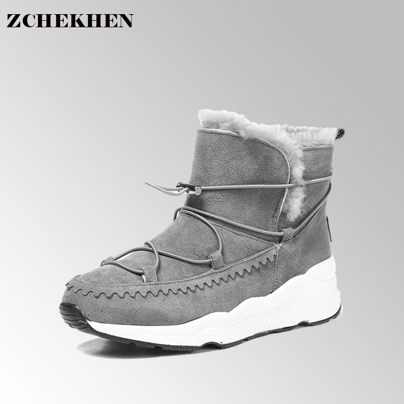 Women snow Boots Solid lace up cow suede Women Snow Boots Round Toe Flat with Winter warm Fur Ankle Boots #25 wdzkn winter snow boots female short tube warm boots lace up round toe flat heel ankle boots for women winter shoes plus size 42