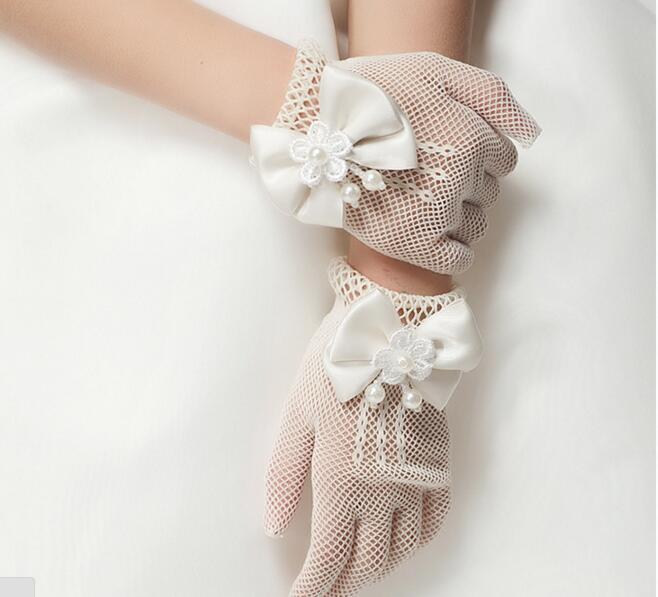 Kinder Creme Spitze Perle Fischnetz Handschuhe Kommunion Flower Girl Party Handschuhe Kinder Handschuh Hohe Elastizität Mesh Bogen Handschuhe