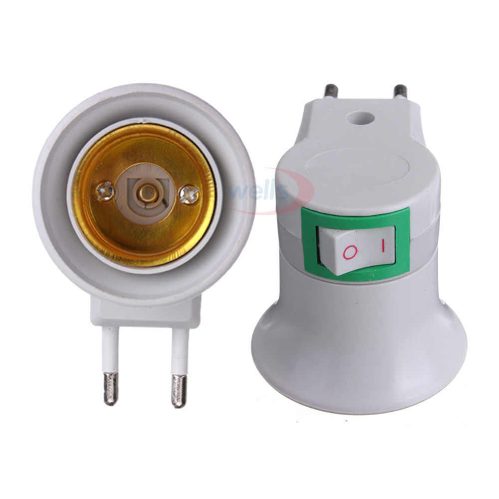 Free Shipping Bulb Lamp EU Type Plug Adapter E27 LED Light Male Socket Converter With ON/OFF Button Holder