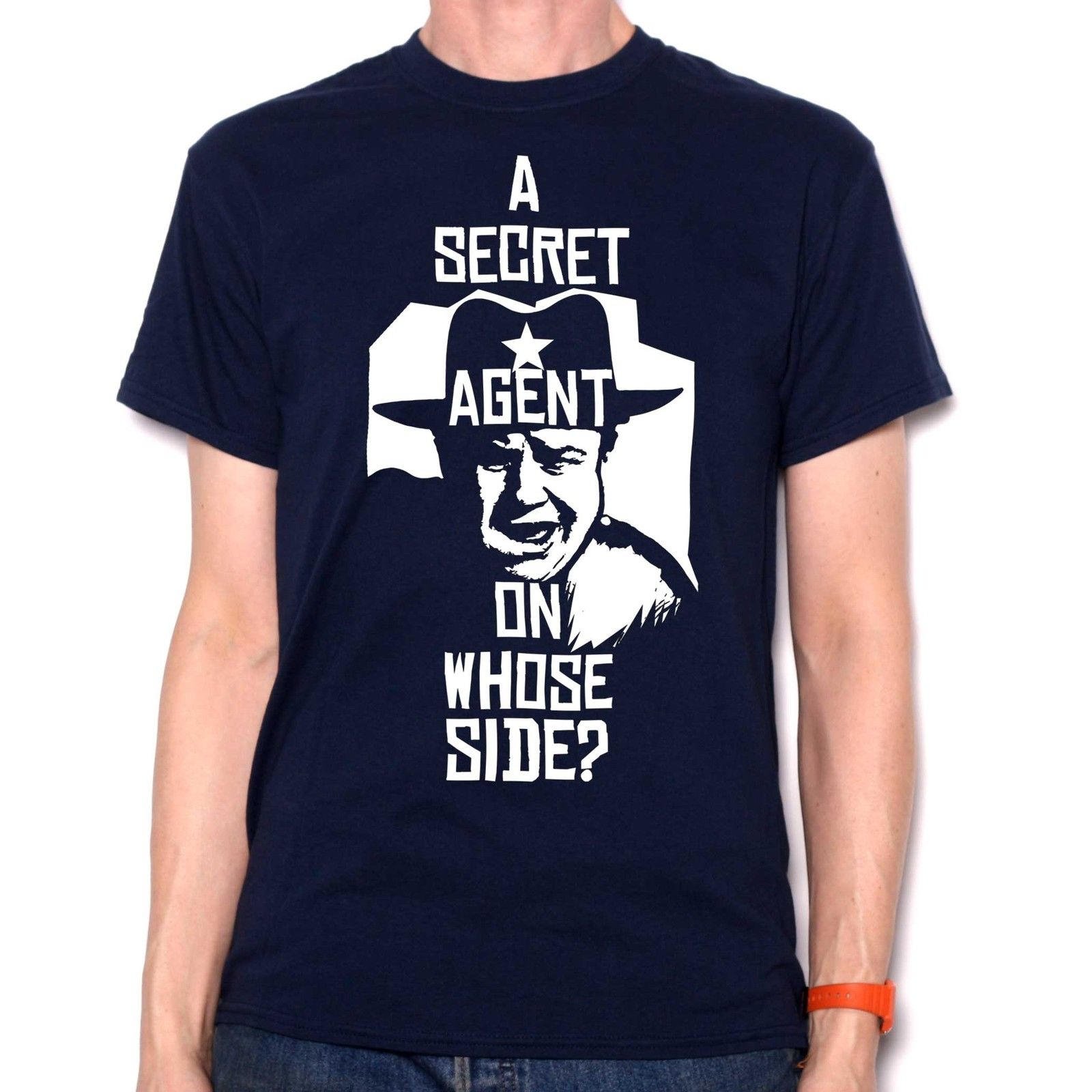 Inspired by JW Pepper T Shirt - A Secret Agent, On Whose Side? Cult Movie Tee