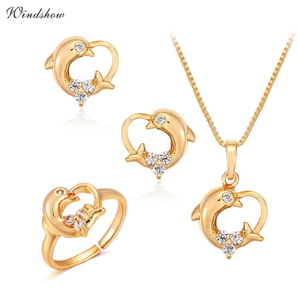 Children Girls Baby Kids Jewelry Sets Yellow Gold Plated Dolphin Heart Charm Pendant Necklace Earrings Ring
