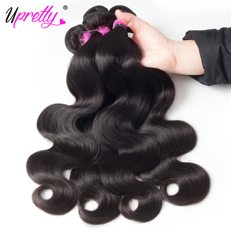 Upretty Hair Body Wave Brazilian Hair Weave Bundles Natural Color Human Hair 4 Bundles Deals 100% Remy Hair Extensions For Sale