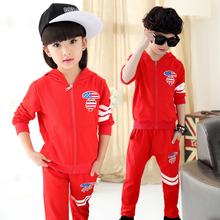 Child spring and autumn girls boys clothes set fashion hoodies sweatshirt + pants casual boys girls sports set