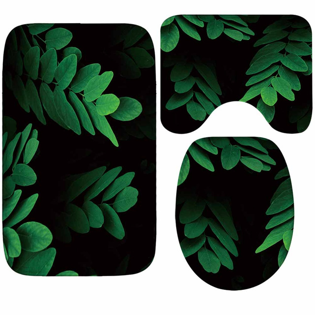 Zeegle Green Leaf Pattern Mats For Bathroom And Toilet Absorbent Toilet Bath Mats Set Shower Mats Floor Mats For Bathroom Rugs