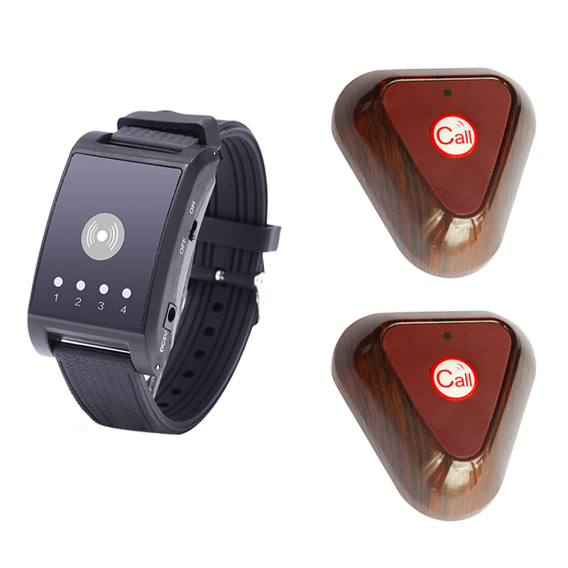 433MHz 4 Channel Wireless Paging Calling System 1 Watch Pager 2 Call Button Restaurant Waiter Call