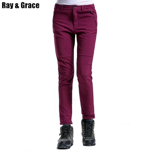 RAY GRÂCE Hiver Sport Trekking Randonnée Pantalon Femmes Polaire Chaud En Plein  Air Softshell Pantalon De 0f711666630