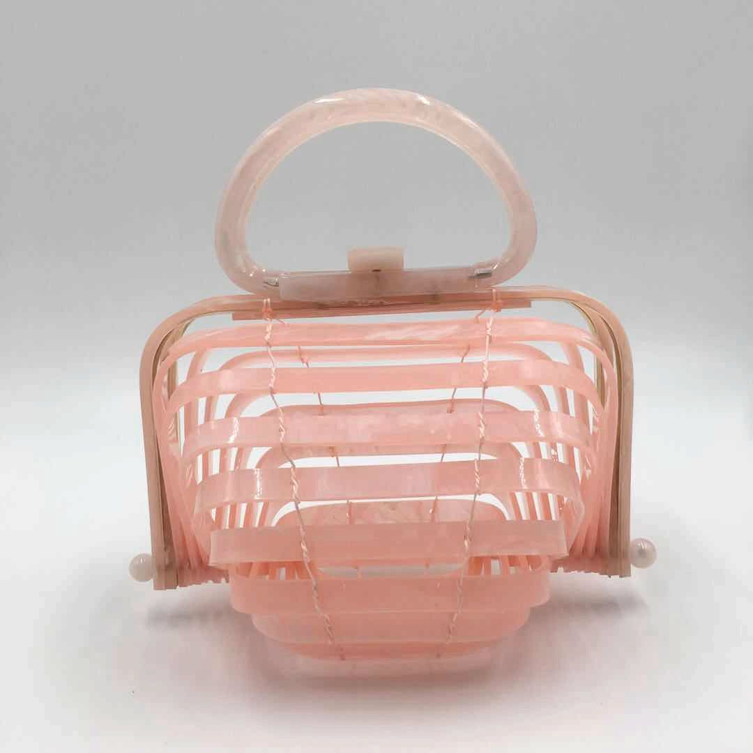 2018 New Brand Hand Bag On Vacation Sandy Beach Hollow Out Archives Bamboo Weaving Bag Acrylic Purse Clutch Box Evening Bags цена