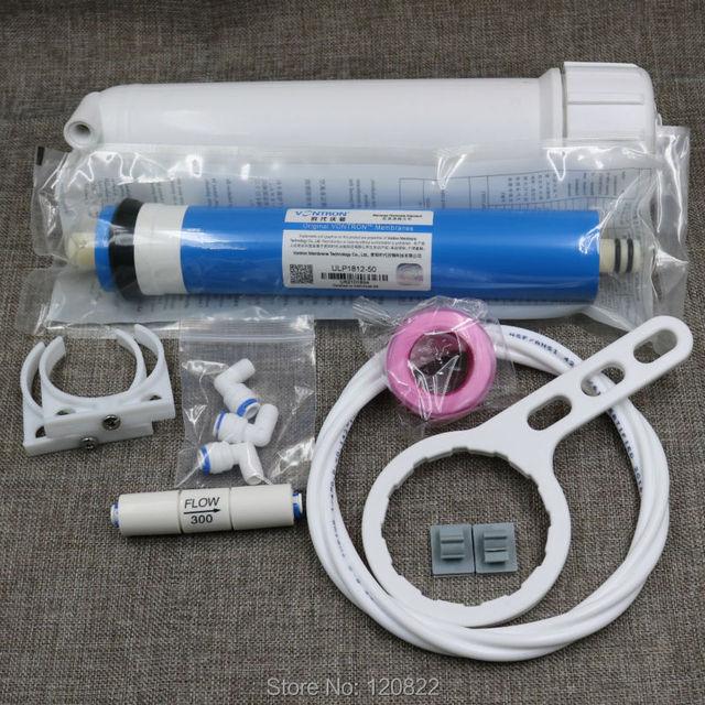 送料無料 50gpd Vontron RO 膜 + 1812 RO 膜ハウジング + 逆浸透水フィルターシステム部品