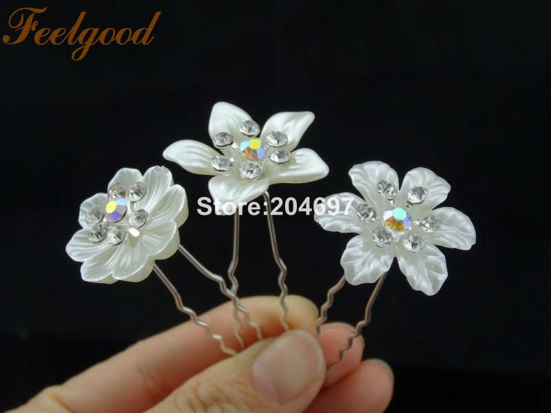 Feelgood 200pcs lot Arrival Imitation Pearl Flower Hairpins With Crystals  Wedding Bridal Jewelry Bridesmaid Accessories For Hair-in Hair Jewelry from  ... 473948df35fe