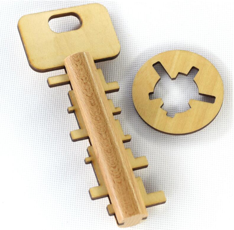 Preschool Educational Wooden Toys kids Intelligence Unlock Puzzle key Adult Toys for Children Gift