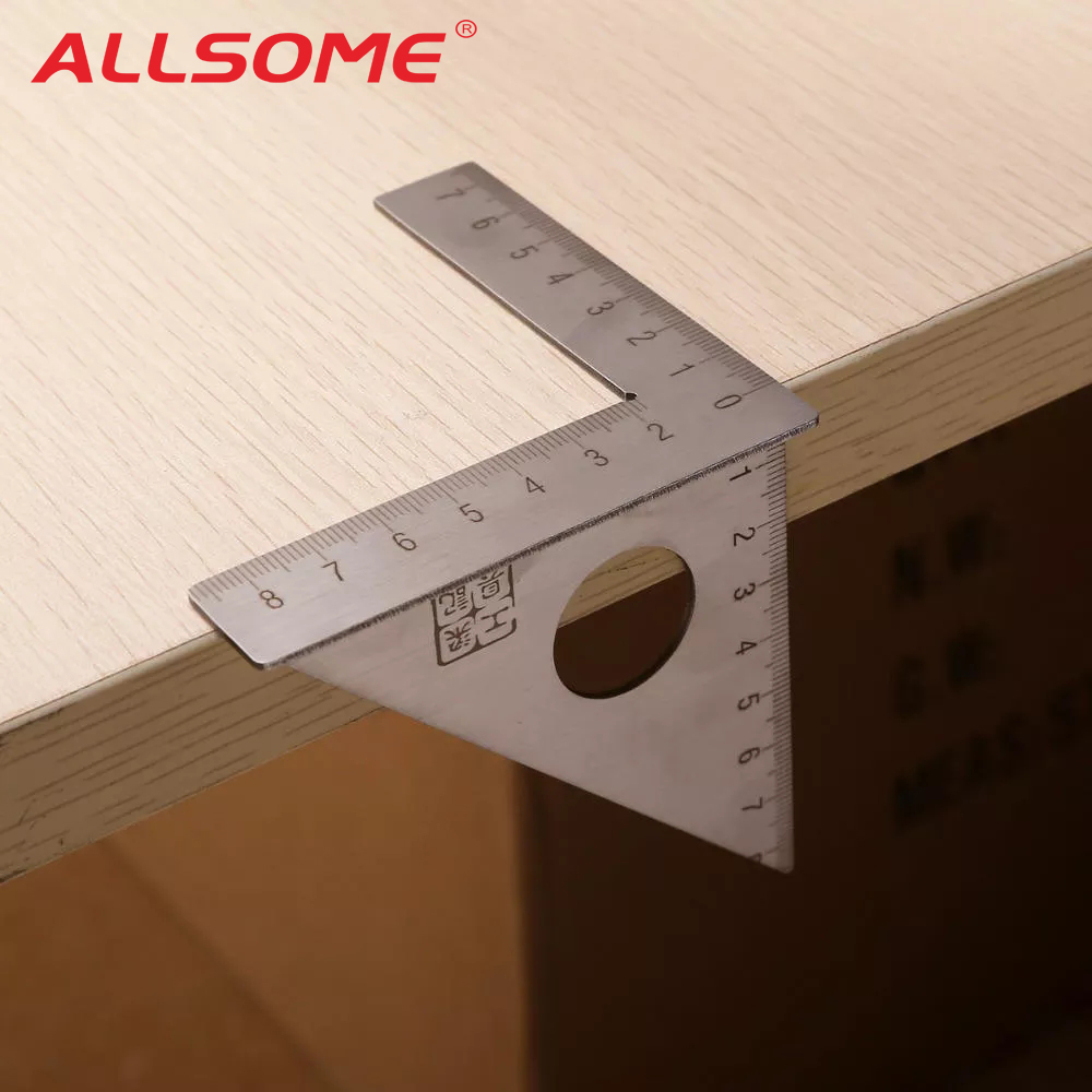ALLSOME Stainless Steel Woodworking Ruler Square Layout Miter Triangle Rafter 45 Degree 90 Degree Metric Gauge Measuring Tools